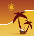summer with coconut color vector image vector image