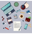 top view desk background with laptop digital vector image vector image