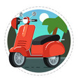 vintage scooter icon in flat design vector image