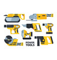 yellow modern power tools flat set vector image