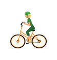 young girl in helmet riding urban bicycle isolated vector image vector image