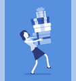 woman holding a heap of gift boxes vector image