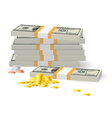 Coins on Dollar Banknotes vector image