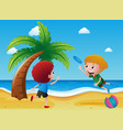 two boys playing frisbee on the beach vector image