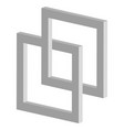 3d interlocking squares icon - connected vector image vector image