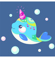 a small kind whale unicorn vector image