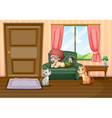 A young boy and his cats inside the house vector image vector image