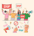 angry crowd people characters holding megaphone vector image
