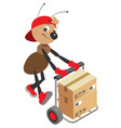 ant loader rolls cart with cardboard boxes vector image