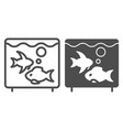 aquarium line and glyph icon fish in aquarium vector image