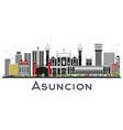 asuncion paraguay city skyline with color