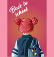 back to school girl with a backpack kindergarten vector image vector image