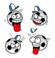 cartoon footballs with smiling faces vector image