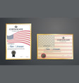 certificate templateamerican flag creative vector image