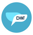 chat bubble icon web button on round blue vector image vector image