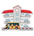 Children and school van at the school vector image vector image
