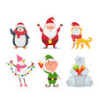 christmas characters in cartoon style santa vector image vector image