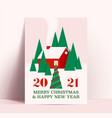 christmas poster or card design template with red vector image vector image