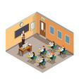class room isometric composition vector image vector image