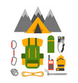 climbing trekking equipment set vector image vector image
