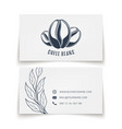 coffee beans logo design on white businesscard vector image vector image