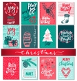 collection nine christmas cards with hand drawn vector image