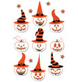 collection of spooky halloween ghost and pumpkin vector image vector image