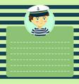 cute captain sailor boy memo notes vector image vector image
