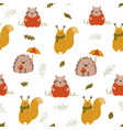 cute seamless pattern with funny forest animals vector image vector image