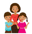 daughter and son hugging their mother vector image vector image