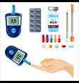 device to measure sugar level and medicines for vector image vector image