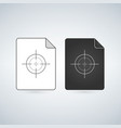 document file icon with crosshair or target flat vector image