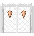 Flat color icon for steel gates with shields vector image