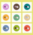 flat icons set of briefcase and documents concept vector image vector image