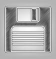 floppy disk sign pencil sketch imitation vector image vector image
