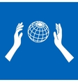 Globe Icon with Hands on Blue Background vector image vector image