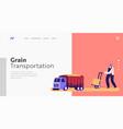 grain transportation landing page template worker vector image