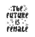 hand-drawn feminist lettering in sloppy style vector image vector image