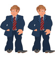 Happy cartoon man standing in striped tie vector image vector image