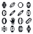 health fitness tracker icon set simple style vector image vector image