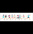 jogging runners group morning running adult vector image