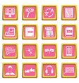 learning foreign languages icons pink vector image vector image