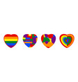 lgbtq rainbow heart flag include love concept of vector image