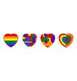 lgbtq rainbow heart flag include love concept vector image