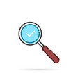 linear cartoon magnifying glass like review vector image
