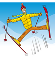 man jump on ski cartoon vector image vector image