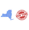 mosaic map of new york state with connected points vector image vector image