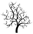 musical tree with music notes vector image vector image
