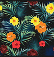 pattern with tropical leaves and flowers vector image vector image