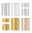 realistic detailed 3d gold and metal tin can set vector image
